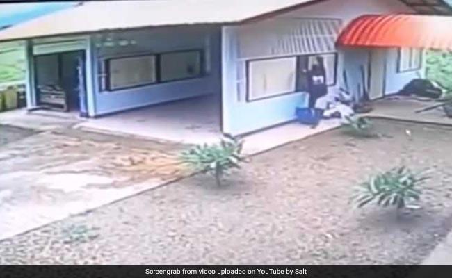 Thief Breaks In Through Garage Window. Doesn't Notice Door Is Wide Open